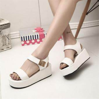 Women Flat High Wedge Sandals Ankle Strap Velcro Platform ShoesChunky Creepers