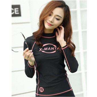 Women Long Sleeve Surf Rashguard Shirts Tee Swim Wear SnorkelingDiving Tops Shirts Swimwear Sunscreen - C
