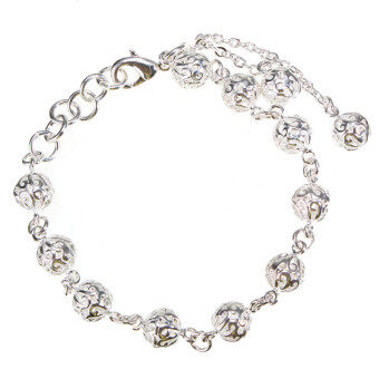 5PCS Fashion Jewelry Women 925 Silver-Plated Hollow Lucky Beads Chain Bracelet Bangle
