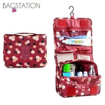 BAGSTATIONZ Printed Multipurpose Travel Organizer and Toiletries Pouch (Maroon)
