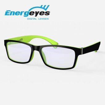 ENERGEYES Anti-Fatigue Computer Glasses Protect Eyes & Cut Blue Light by 50% Men Rectangle Black Front and Lime Green Back