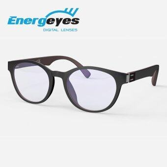 ENERGEYES Anti-Fatigue Computer Glasses Protect Eyes and Cut Blue Light by 50% Men Round Black Front and Mocha Brown back
