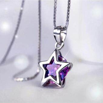 Fantastic Flower Women 925 Sterling Silver Zircon Star Crystal Pendant Necklace Chain Jewelry NEW