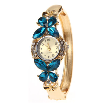 Geneva Watch Gold-fil Crystal Bracelet Butterfly Quartz Wristwatch