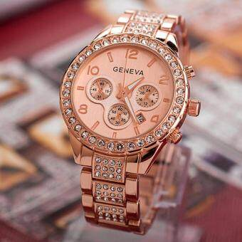 Geneva Women Fashion Luxury Crystal Quartz Watch Rose Gold Free shipping