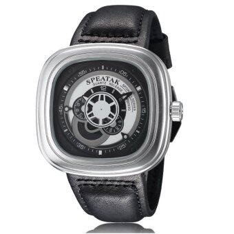 (IMPORTED) SEVENFRIDAY Inspired SP9053G Fashion Leather StrapSquare Dial Turbine Analog Display Quartz Watch - Silver + Black