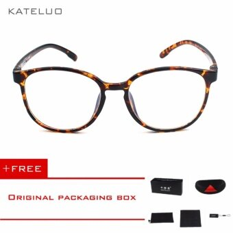 KATELUO Retro Eyeswear TR90 Anti Computer Blue Laser Fatigue Radiation-resistant Eyeglasses Goggles Glasses 9300 (Leopard)