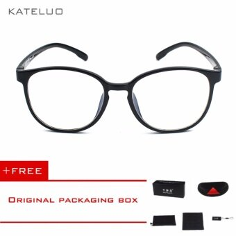 KATELUO Retro EyeswearTR90 Anti Computer Blue Laser Fatigue Radiation-resistant Eyeglasses Goggles Glasses 9300 (Black)