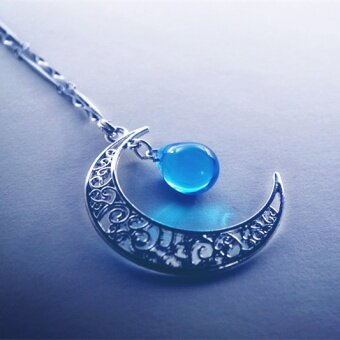 Moon glass pendant necklace