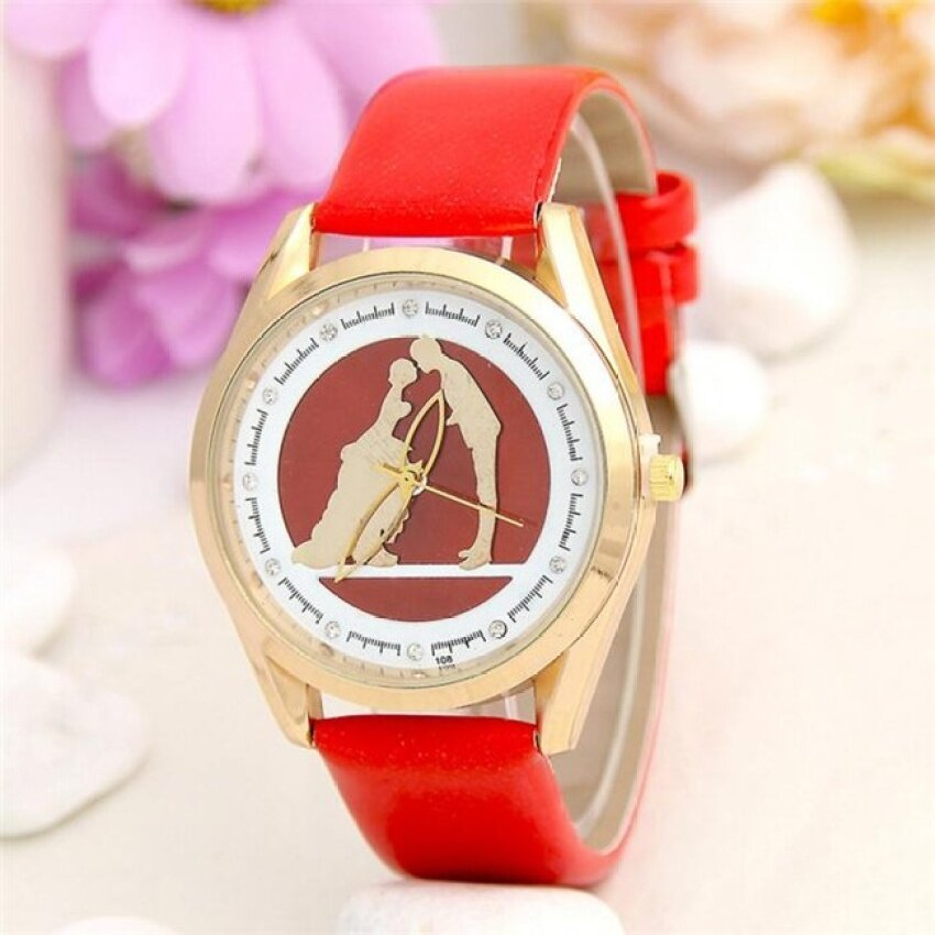 Ms Lovers Kiss Pattern Women Leather Band Watches Sport AnalogLadyQuartz Date Wrist Watch(Red) - intl
