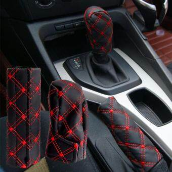 Universal PU Leather Auto Car Hand Brake Cover+ Gear Shift Stick Cover Durable Car Accessories Black Red