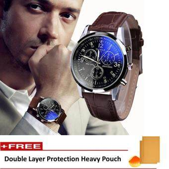 Yazole Vintage Unisex Leather Band Stainless Steel Sport Military Quartz Wrist Watch