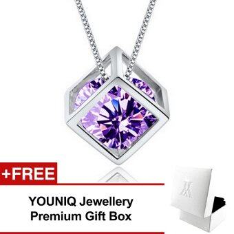 YOUNIQ Cube 925 Sterling Silver Necklace Pendant with Cubic Zirconia (Purple)