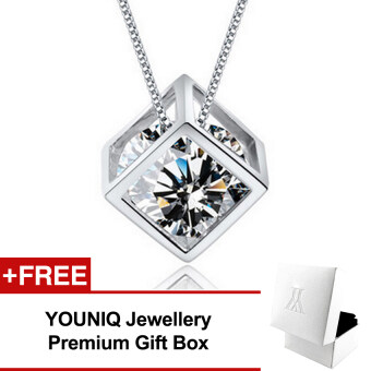 YOUNIQ Cube 925 Sterling Silver Necklace Pendant with Cubic Zirconia (White)