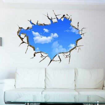 Blue Sky And White Cloud Scenery Window Art Design Removable Wall Sticker Home Decor Wallpaper