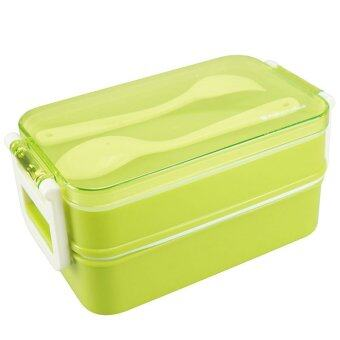 double plastic bento box lunch boxes for kids with spoon and fork 850ml green. Black Bedroom Furniture Sets. Home Design Ideas