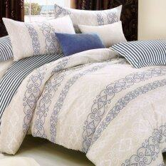 Essina 100% Cotton 500TC Fitted Bed Sheet Set With Quilt Cover - Palmira