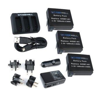 Freewell GoPro HERO4 Charging Kit with 3 Pack Battery