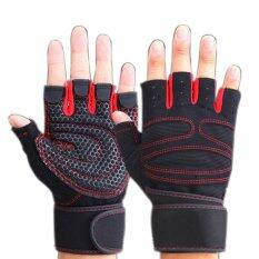 HKS Weight Lifting Gym Gloves Workout Wrist Wrap Sports Exercise Training Fitness Red