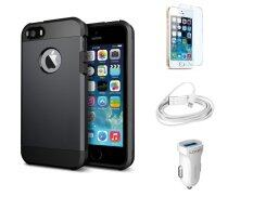 Impact-Resistant Case for iPhone 6 Plus Black + FREE LDNIO Car Charger + Lightning Cable + 9H Tempered Glass