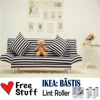Living Room 3 Seater 2  in  1 Foldable Sofa Bed Stripe with FREE
