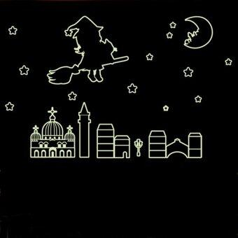 Moon stars girl night lighting wall decal pvc home sticker house paper