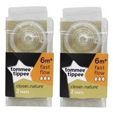 Tommee Tippee Closer to Nature Teats Fast Flow 6m+ - Set of 2 (Twin Pack)