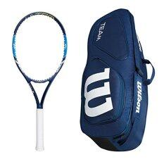 Wilson Ultra 100 Racket with Team II Navy Triple Tennis Bag (4_1/4)