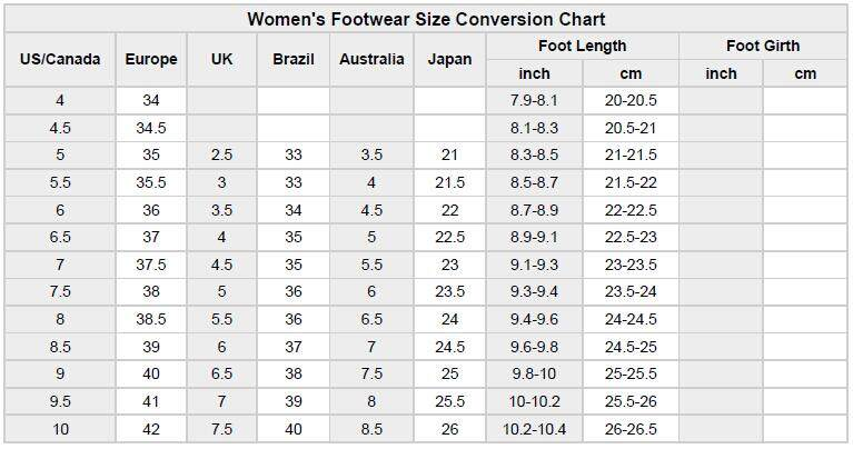 High heel size chart
