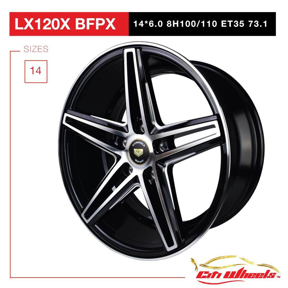 Lx120(x) 14 Sports Riim / Alloy Wheels 8h100/110 Black Polished Face By Race Tec.