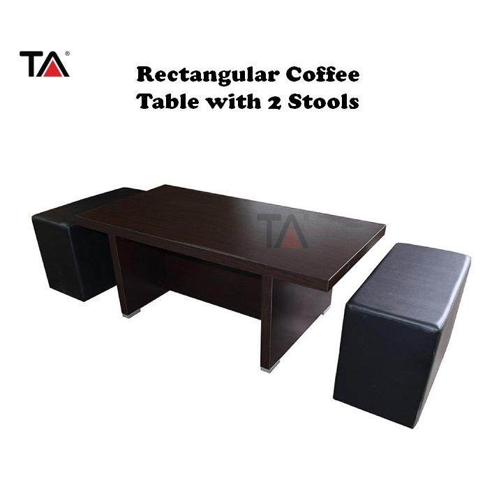 (2018 New Launch) : T.a. Lzd (rec) Rectangular Coffee Table With 2 Stools By T.a. Furniture.
