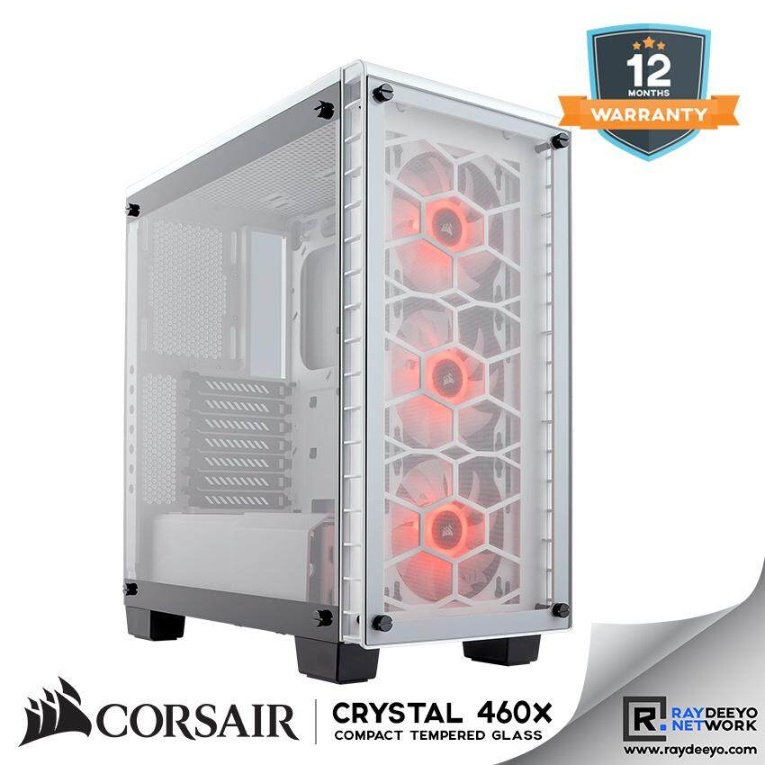 Corsair Crystal Series 460X RGB Compact ATX Mid-Tower Case - (White) [ATX, Matx, Mini-ITX] Malaysia