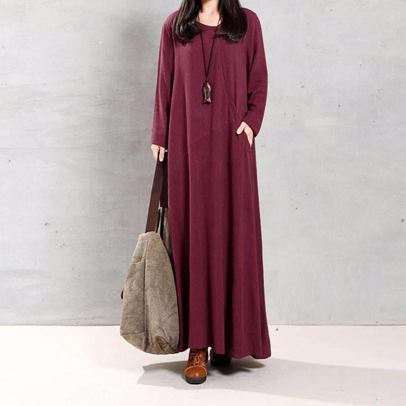 42a2f9bab3910 VONDA Maternity Clothings 2018 Pregnant Women Vintage Long Sleeve O Neck  Casual Loose Maxi Long Dress