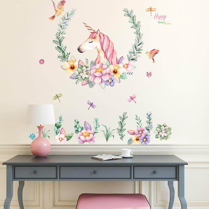 Unicorn Wall Stickers Nordic Style Wall Paper Beautiful Horse Bedroom Decorative Wall Paper Flowers Wall Stickers Series