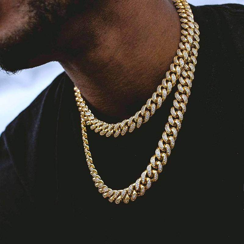 22ba62056ac01 BZY Men Simulated Diamonds Necklace Cuban Chains Necklace Male Alloy Gold  Plated Accessory