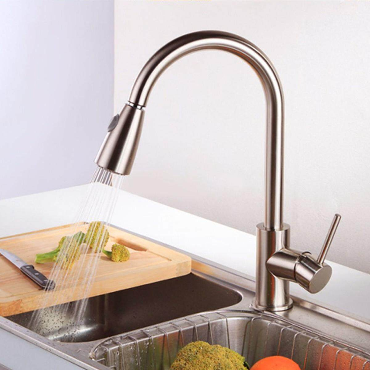 Brushed Steel Pull Down&Out Swivel Kitchen Faucet Basin Sink Spray Mixer Tap