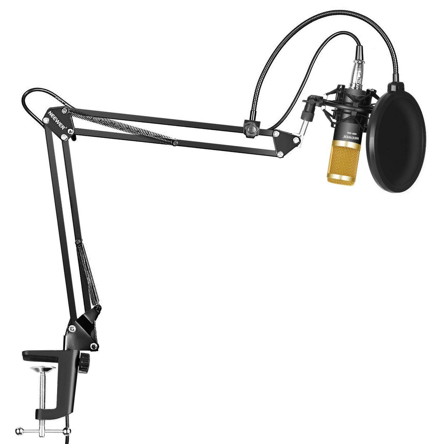 Neewer Professional Studio Broadcasting Recording Condenser Microphone & Nw- 35 Adjustable Recording Microphone Suspension Scissor Arm Stand With Shock Mount And Mounting Clamp Kit By Alawrex Technology.