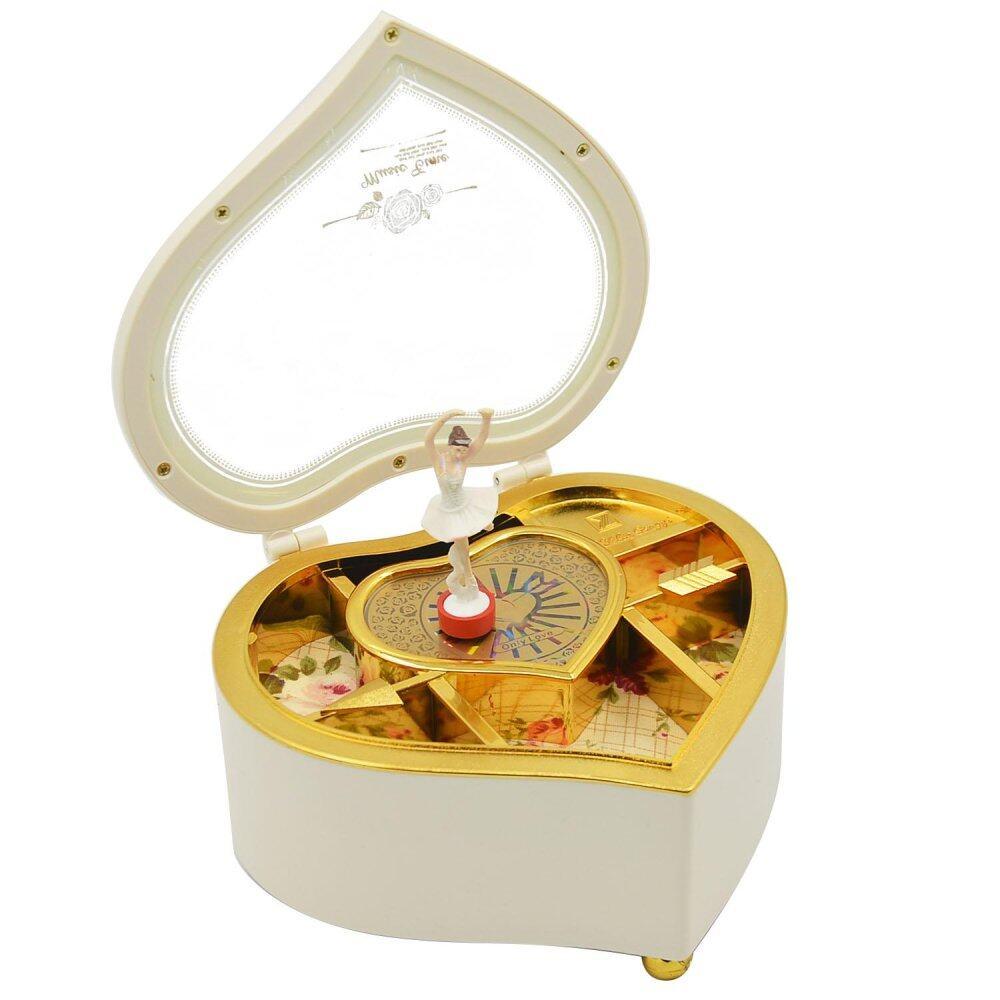 Heart Shaped Dancing Ballerina Music Box Mechanical Musical Jewelry Box Girls Kids Christmas Birthday Gift Music