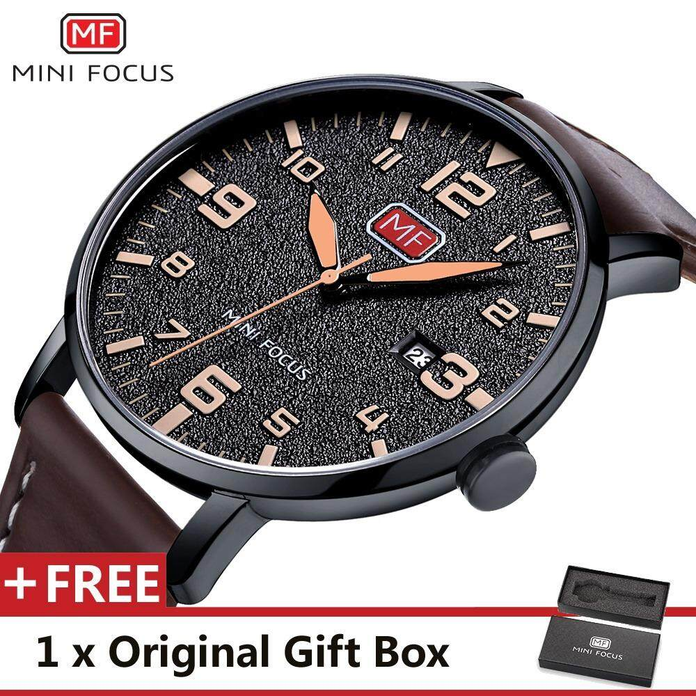 MINI FOCUS Top Luxury Brand Watch Famous Fashion Sports Cool Men Quartz Watches Calendar Waterproof Leather Wristwatch For Male MF0158G_FZ3 Malaysia