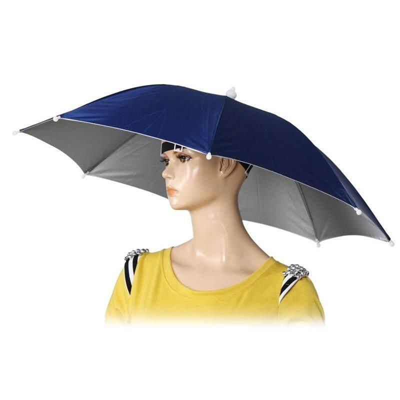 26 Diameter Elastic Band Fishing Headwear Umbrella Hat Dark Blue By Sunnny2015.