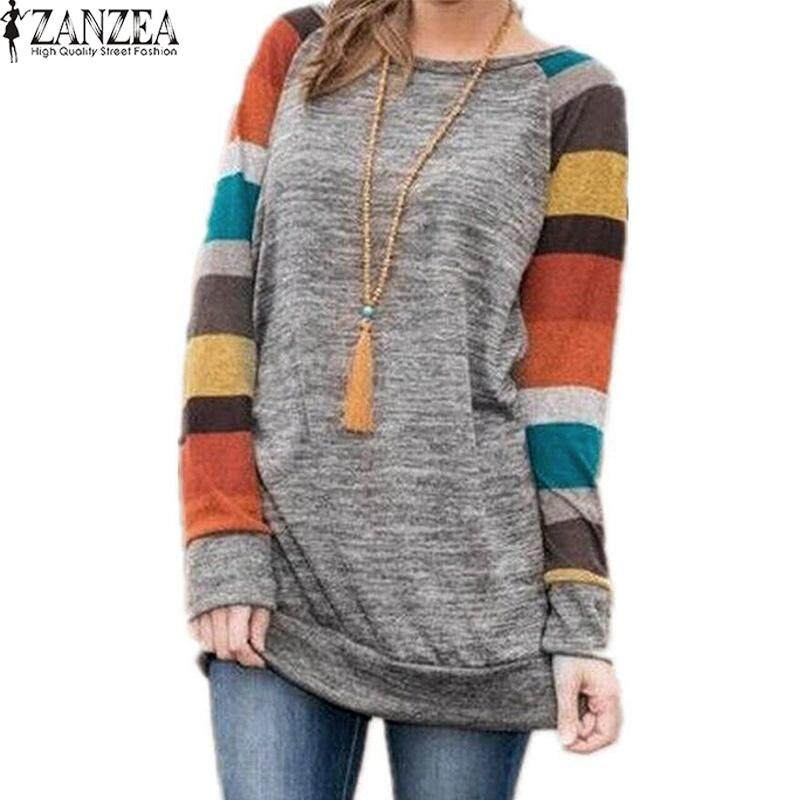 197aa3b1ad ZANZEA Women Long Sleeve Loose Jumper Top T Shirt Plus Size Tunic Blouse
