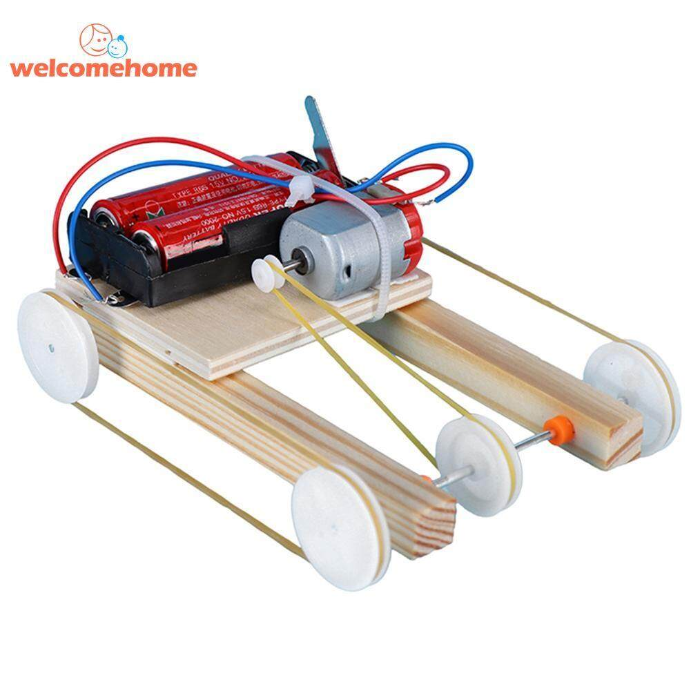 Wooden Diy Electric Pulley Four Wheel Drive Car Assembly Model Kit Kids Toy Science Experiment Educational Toys By Welcomehome.