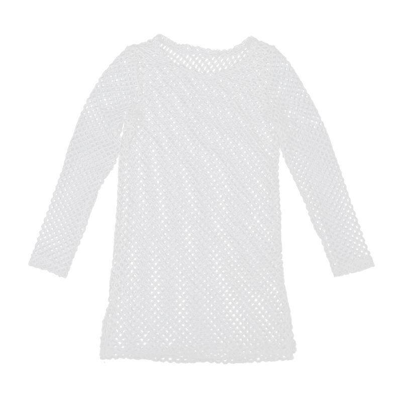 Women Sexy Mesh Hollow Crochet Long Sleeve Swim Wear Bikini Cover Up Beach Dress- White Size:s By Lapurer.