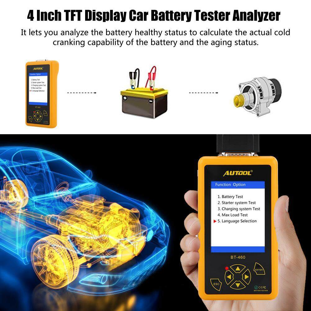 AUTOOL BT-460 Battery Tester Lead-acid AGM GEL Battery Cell Analyzer 4/'/' TFT Colorful Display Auto Battery Testers Car Battery Analyzer Suppor 12V Vehicles /& 24V Heavy Duty Trucks