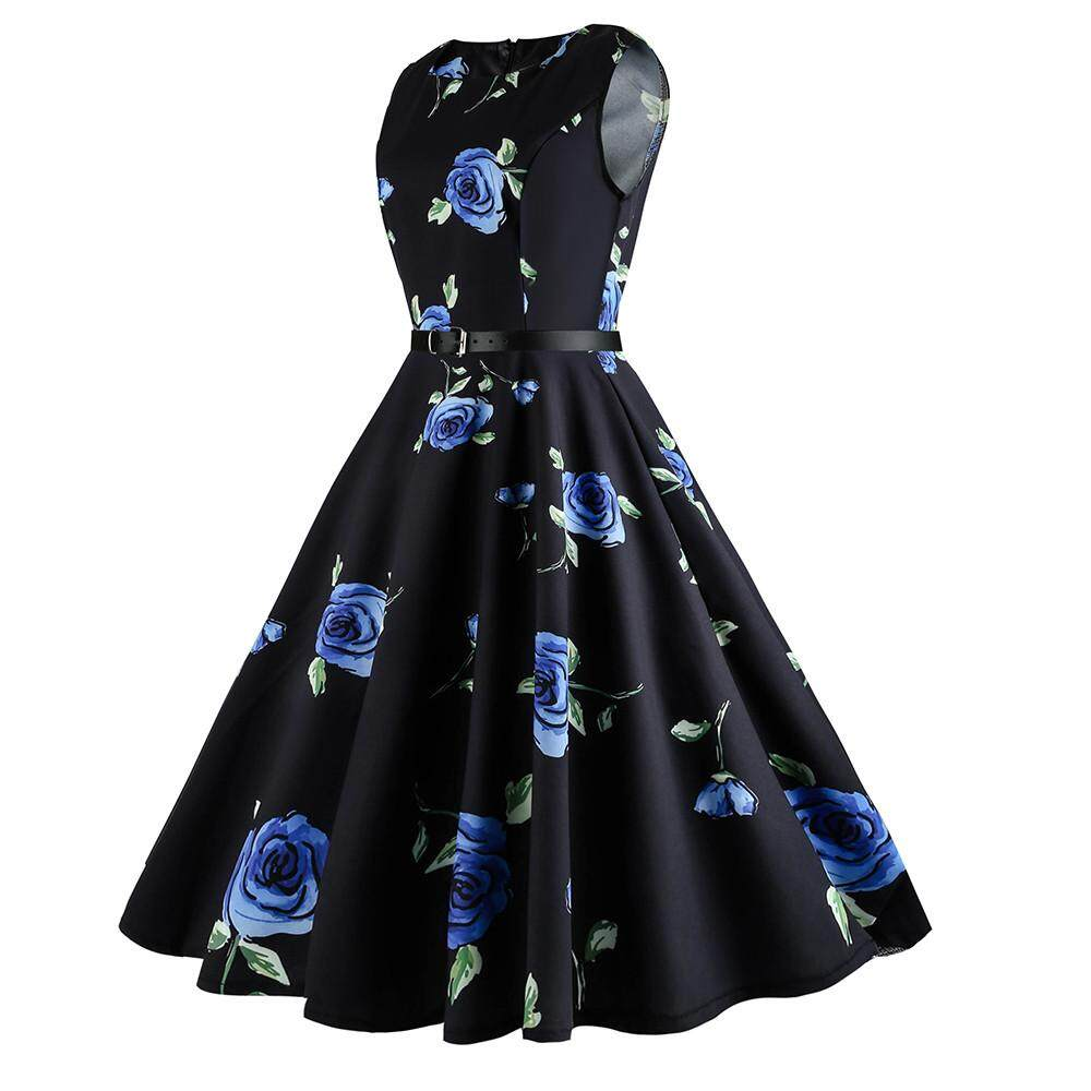 4bd07764a88 Lawsonshop Women Vintage Printing Sleeveless Casual Evening Prom Swing Dress  Party Dress Free shipping