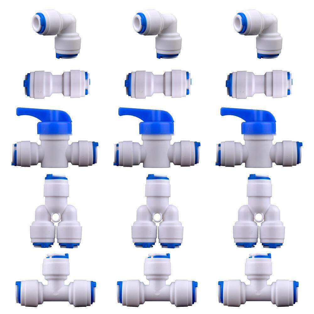 1/4inch OD Quick Connect Push Fit Water Tube Fitting Adaptor for RO Water Filter Water Dispenser Fitting pack of 15 (Ball Valve I+L+T+Y Type Combo)