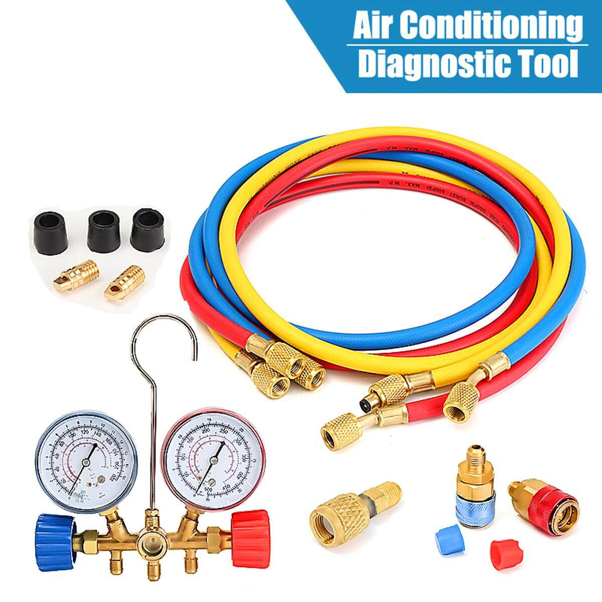 with Couplers and ACME Adapter 5FT AC Diagnostic Manifold Freon Gauge Set for R134A R12 R22 and R502 Refrigerants