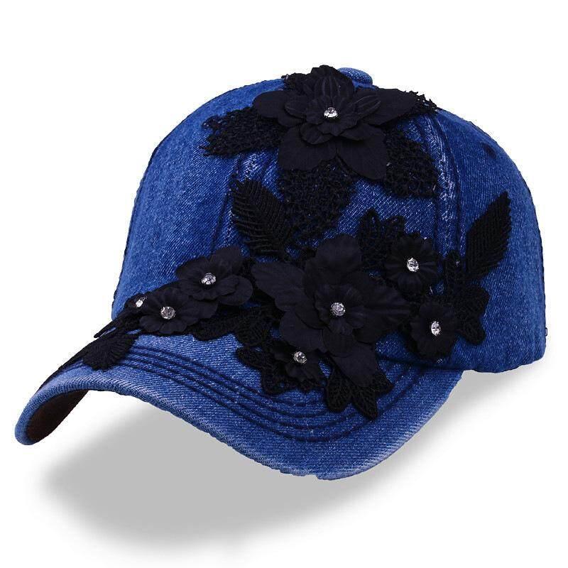 a026b72f514 Denim Rhinestone Crystal Hats Cap Baseball Cap Visor Hat Adjustable Cotton  Hip Hop Cap Women s Embroidered