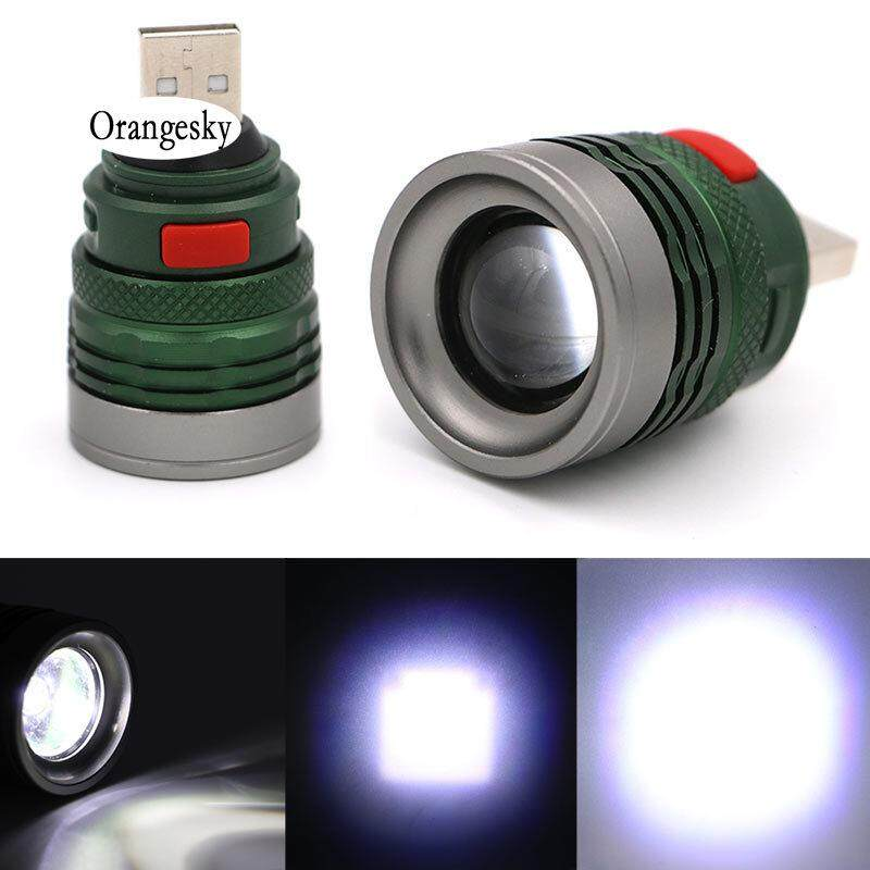 Orangesky 3 Mode Mini Tactical Usb Flash Light Torch Zoom Powerful Led Flashlight Outdoor Travel Lamp By Orangesky.