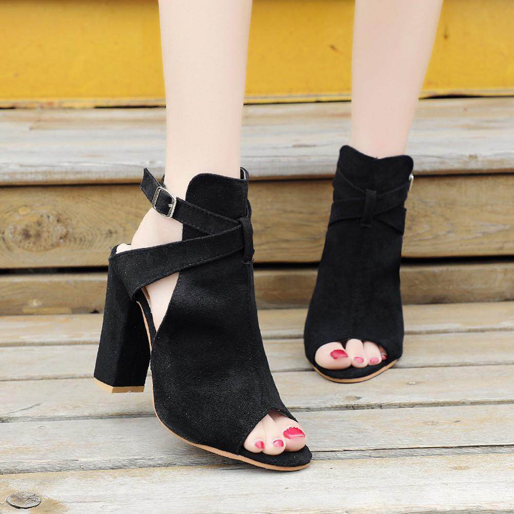 ae05a2a27ff9 Women Fashion Solid Flock Peep Toe Wedges Hasp Sandals High Heeled Shoes BK